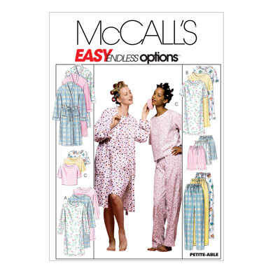 McCall's Misses' Robe, Nightgown Or Top and Pull-On Pants Or Shorts M2476 - Sewing Pattern