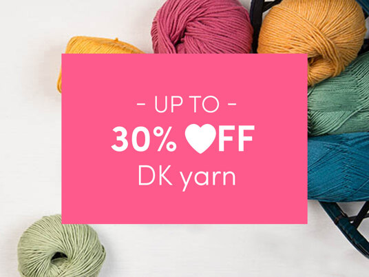 Up to 30 percent off DK yarns!