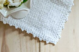 Diagonal Basket Weave Washcloth with Picot Edge