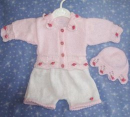 Cardi and Cap with lacy knitted edges and matching Shorts size 0-3mths ref01