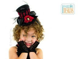 Victorian Goth, Steampunk Style Mini Top Hat and Mittens, Crochet PDF Pattern by Ira Rott