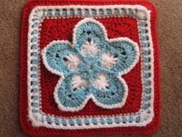 Strawberry Blossom Afghan Square