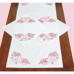Jack Dempsey Stamped Dresser Scarf and Doilies Perle Edge - Rose Garden