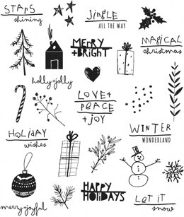 """Stampers Anonymous Tim Holtz Cling Stamps 7""""X8.5"""" - Seasonal Scribbles"""
