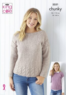 Ladies Cardigan, Sweater & Cap Sleeve Top in King Cole Timeless Chunky  - 5551 - Leaflet