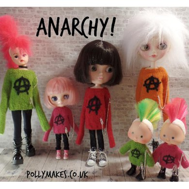 Anarchy boiled wool sweater for dolls