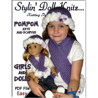 Matching Pompom hat and scarf for girls and 18 inch dolls (American Girl) 405