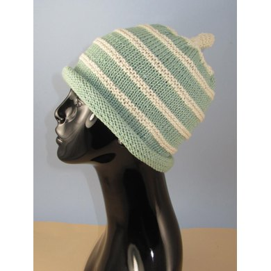 Stripe Roll Brim Topknot Beanie Hat