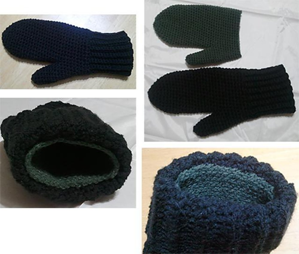 Knitting Pattern For Lined Mittens : X-LG Men s Lined Crochet Mittens Crochet pattern by Lori-Anne Ketola