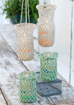 Crochet Hanging Luminaries in Red Heart Eco-Cotton Blend Solids - LW2224 - Downloadable PDF