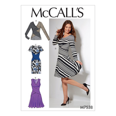 McCall's Misses' Crossover-Band Top and Dresses M7538 - Sewing Pattern