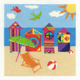DMC Bright Beach Huts 14 Count Cross Stitch Kit