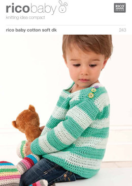 Striped Jumper with Flowers in Rico Baby Cotton Soft DK - 243