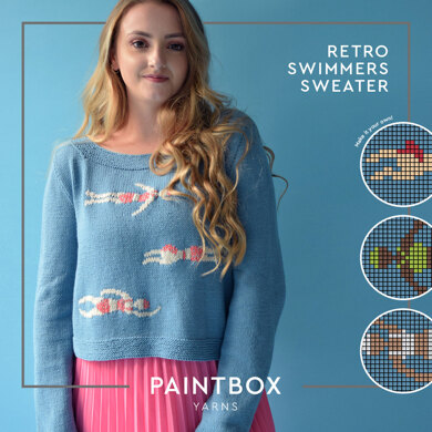 Retro Swimmers Jumper - Free Jumper Knitting Pattern in Paintbox Yarns Cotton DK and Metallic DK - Downloadable PDF
