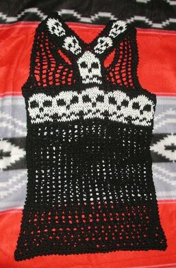 Knit Skulls And Lace Racer Back Tank