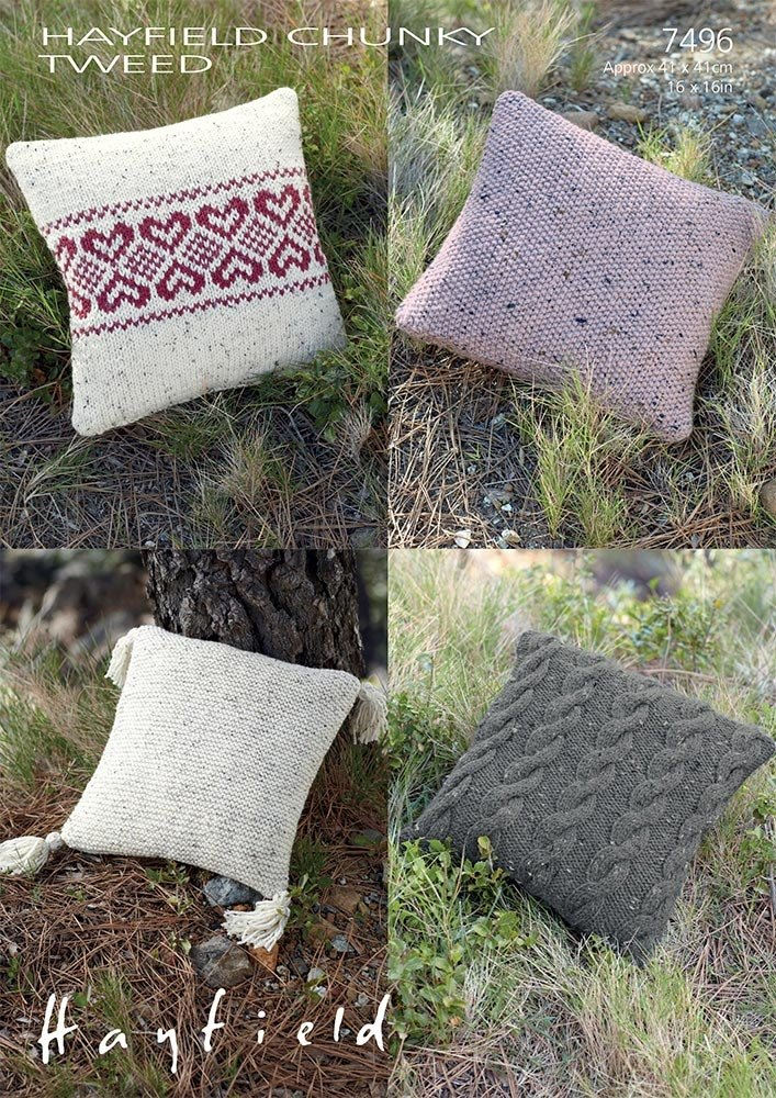 Cushion Covers in Hayfield Chunky Tweed - 7496 - Downloadable PDF