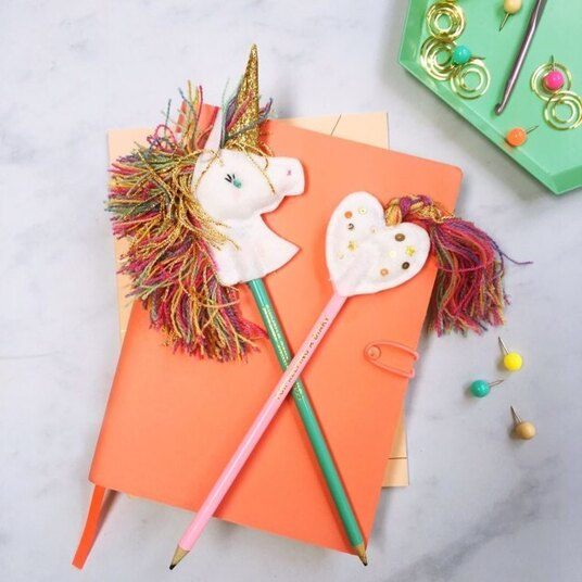unicorn and heart pencil toppers