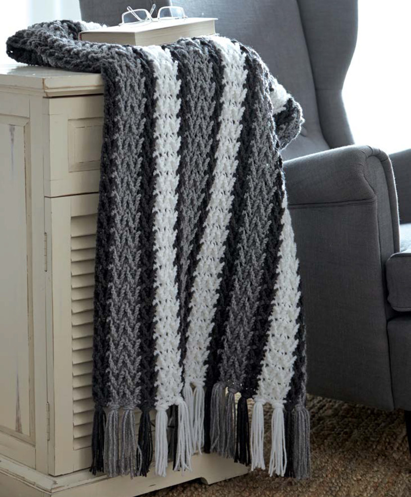 Arrowhead Striped Afghan In Caron United Downloadable Pdf