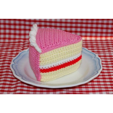 Crochet Pattern for A Slice of Birthday Cake / Iced Victoria Sponge Cake - Tea Party Food