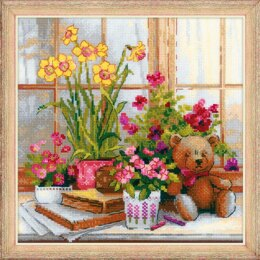 Riolis Teddy on a Windowsill Cross Stitch Kit