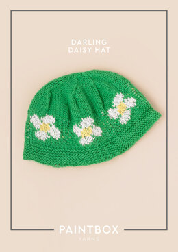 """""""Darling Daisy Hat"""" - Hat Knitting Pattern For Babies in Paintbox Yarns Cotton DK"""