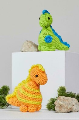 Stellan & Stanley Crochet Dinosaur in Red Heart Amigurumi - LM6283 - Downloadable PDF