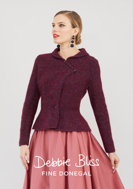 """Delphine Jacket"" - Jacket Knitting Pattern For Women in Debbie Bliss Fine Donegal & Angel - DB253"