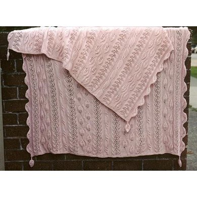 Twining Vine Strip-Knitted Afghan