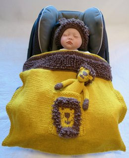 Lion Baby Car Seat Blanket with Hat & Toy