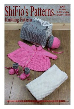 Knitting pattern baby dress, jacket, hat, booties and blanket UK & USA Terms #68