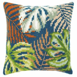 Vervaco Counted Cross Stitch Kit: Cushion: Botanical Leaves