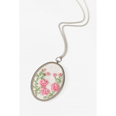 DMC Oval Pendant to embroider with Coton Perlé Embroidery Kit - 5 x 3.5 cm