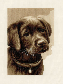Vervaco Labrador Puppy Cross Stitch Kit - 24cm x 31cm