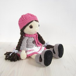 Doll - Girl in a dress, jacket, boots and hat