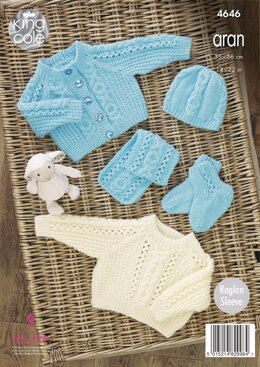 Sweater, Cardigan, Hat, Scarf & Bootees in King Cole Comfort Aran - 4646