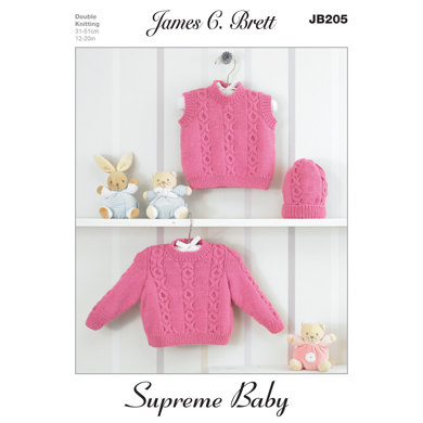 Hat, Slipover and Sweater in James C. Brett Supreme Baby DK - JB205