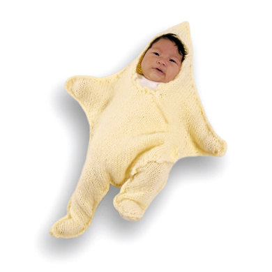 Knitted Dancing Star Baby Bunting In Lion Brand Jiffy