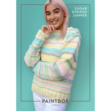 """Sugar Striped Jumper"" : Jumper Knitting Pattern for Women in Paintbox Yarns Bulky 