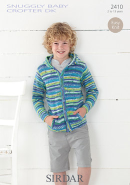 Child's Hooded Jacket in Sirdar Snuggly Baby Crofter DK - 2410