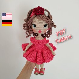 Astrid Doll crochet pattern in latin dress, english, deutsch