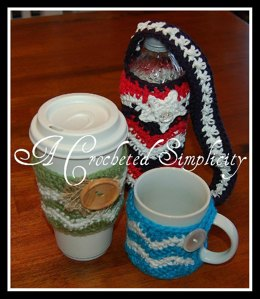 """Chasing Chevrons"" Cozies : Coffee Mug, Coffee Sleeve & Water Bottle"