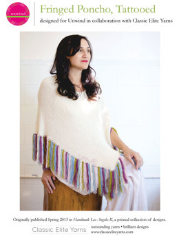Fringed Poncho, Tattooed in Classic Elite Yarns Silky Alpaca Lace - Downloadable PDF
