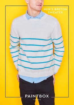 """Breton Mens Jumper"" - Free Jumper Knitting Pattern in Paintbox Yarns Simply Aran"