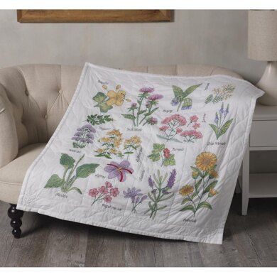 Bucilla Stamped Cross Stitch Lap Quilt Kit 45in x 45in - Wildflower Botanical
