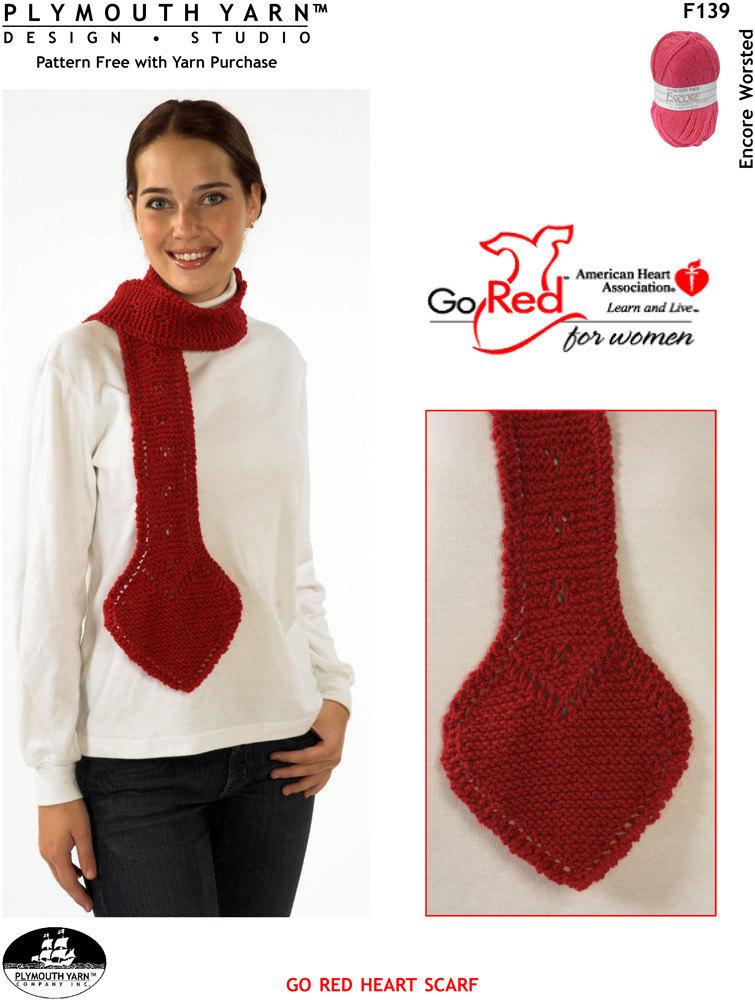 Go Red Heart Scarf In Plymouth Encore Worsted F139 Knitting