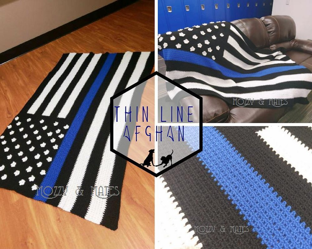 Thin Blue Line Flag Afghan Crochet Pattern By Mozzy And Mates
