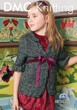Girl's Long Cardigan in DMC Metal Chic Tiara - 15164L/2