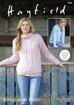 Sweaters in Hayfield Bonus Aran Tweed with Wool - 7988 - Downloadable PDF