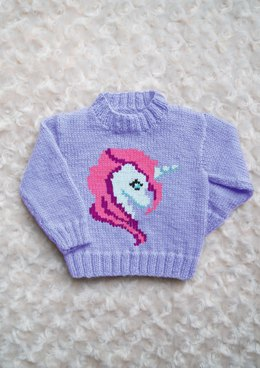 Intarsia - Unicorn Head Chart & Childrens Sweater