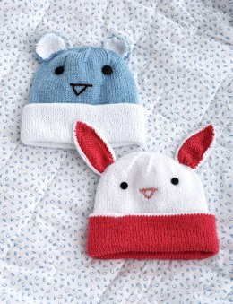 Knit Hats with Ears in Bernat Softee Baby Solids